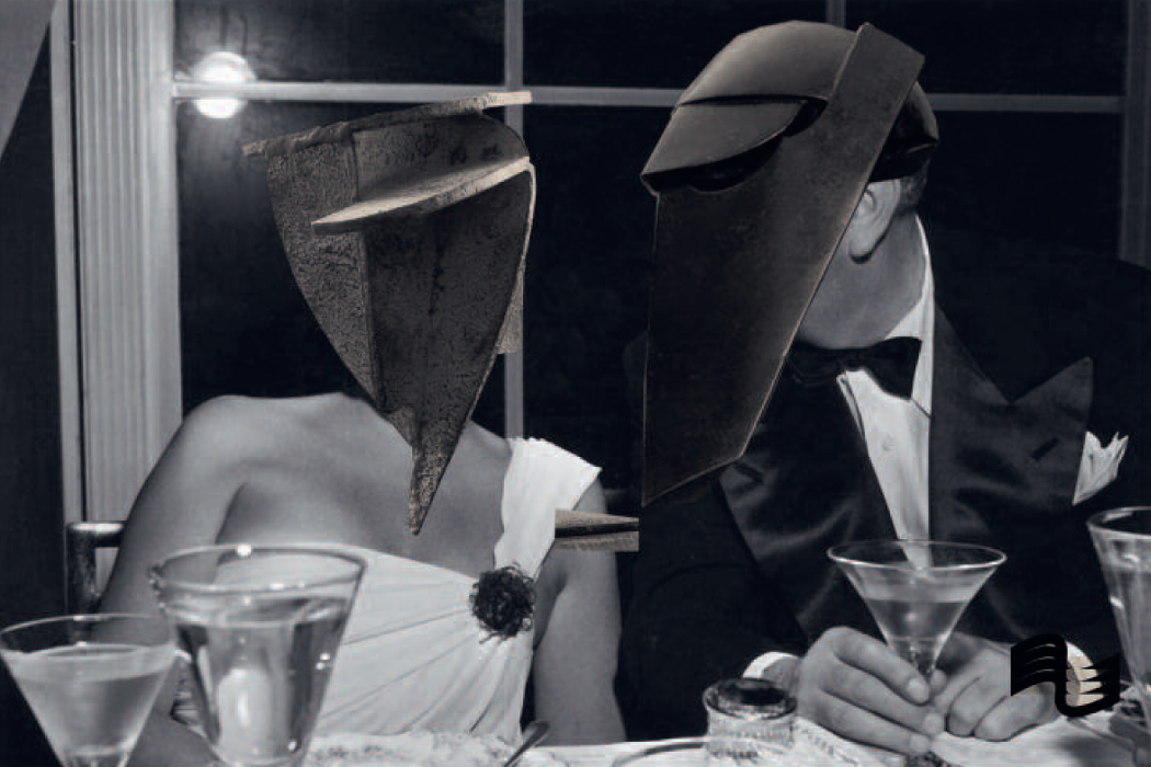 Matthews + Lericolais - Before I Was Invisible, old black and white photo of a couple at a formal dinner with masks superimposed over their heads