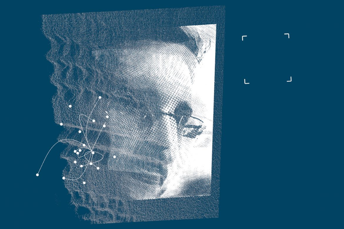 Matthew Collings - A Requiem For Edward Snowden, Snowden's face overlaid with white patterns on a blue background