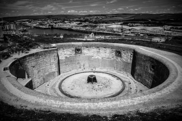 Newhaven Fort by Agata Urbaniak, old turret base with view over Newhaven bay