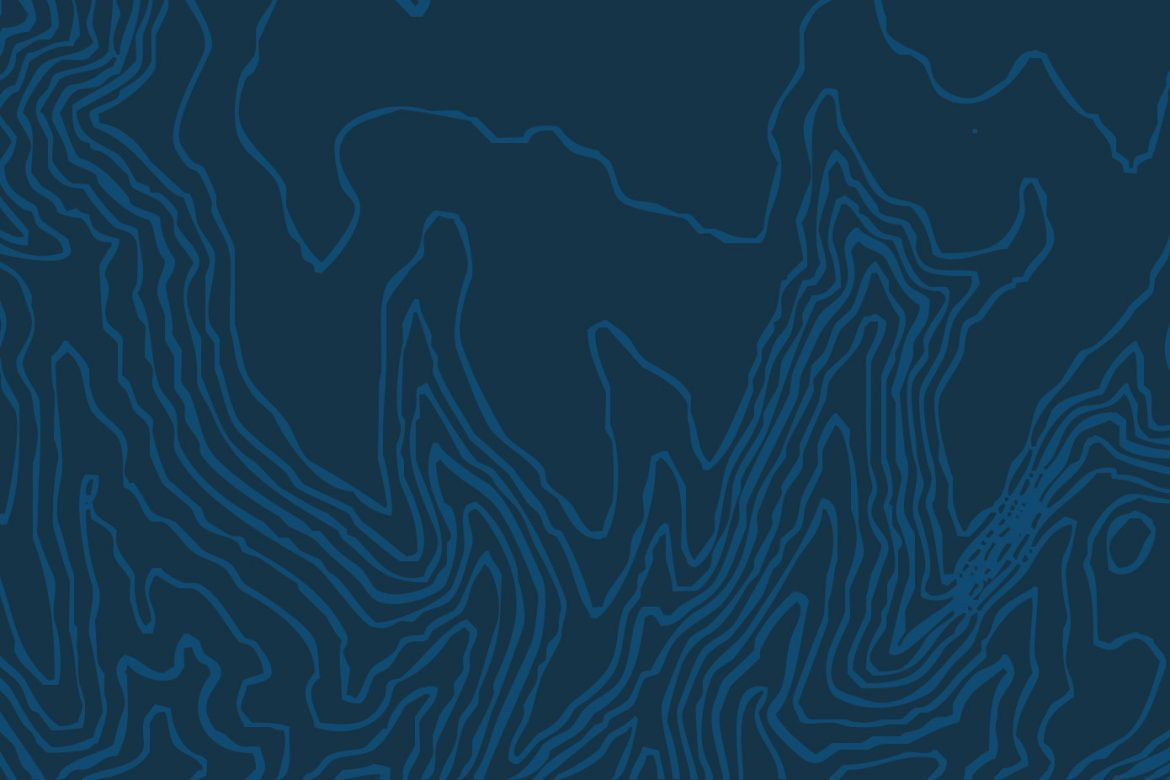Dan Whiting - The Line Never Held, white topographic lines on a blue background