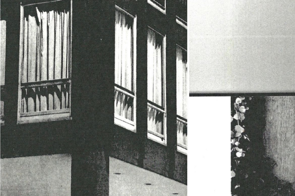 Lea Bertucci - Axis / Atlas, black and white photo of the corner of an apartment building