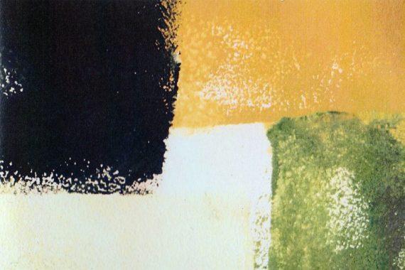 Pisaro, wie, Werder - 3 + 3 =3, block prints of dark blue, yellow, green, and white
