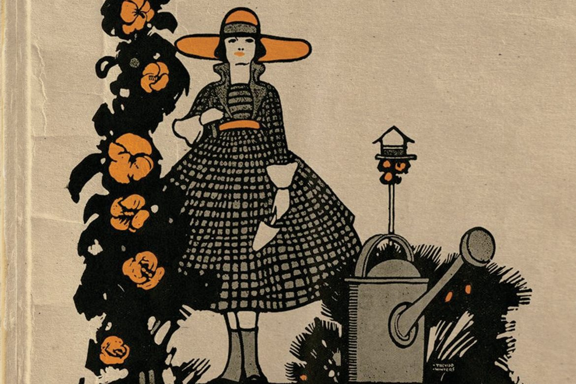 Matthew Revert - An Insect On The Other Side..., old-fashioned drawing of a woman gardening