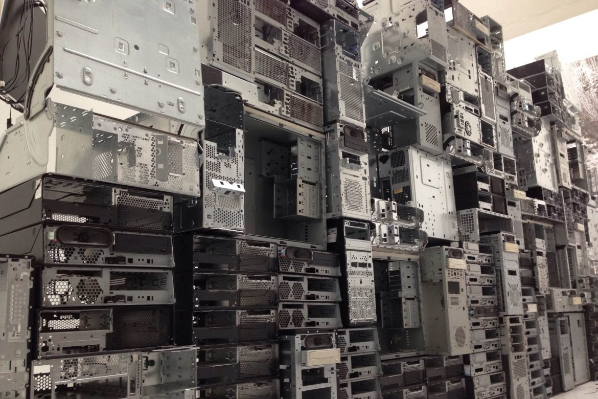 Stephen Cornford - Constant Linear Velocity, huge wall of empty computer cases