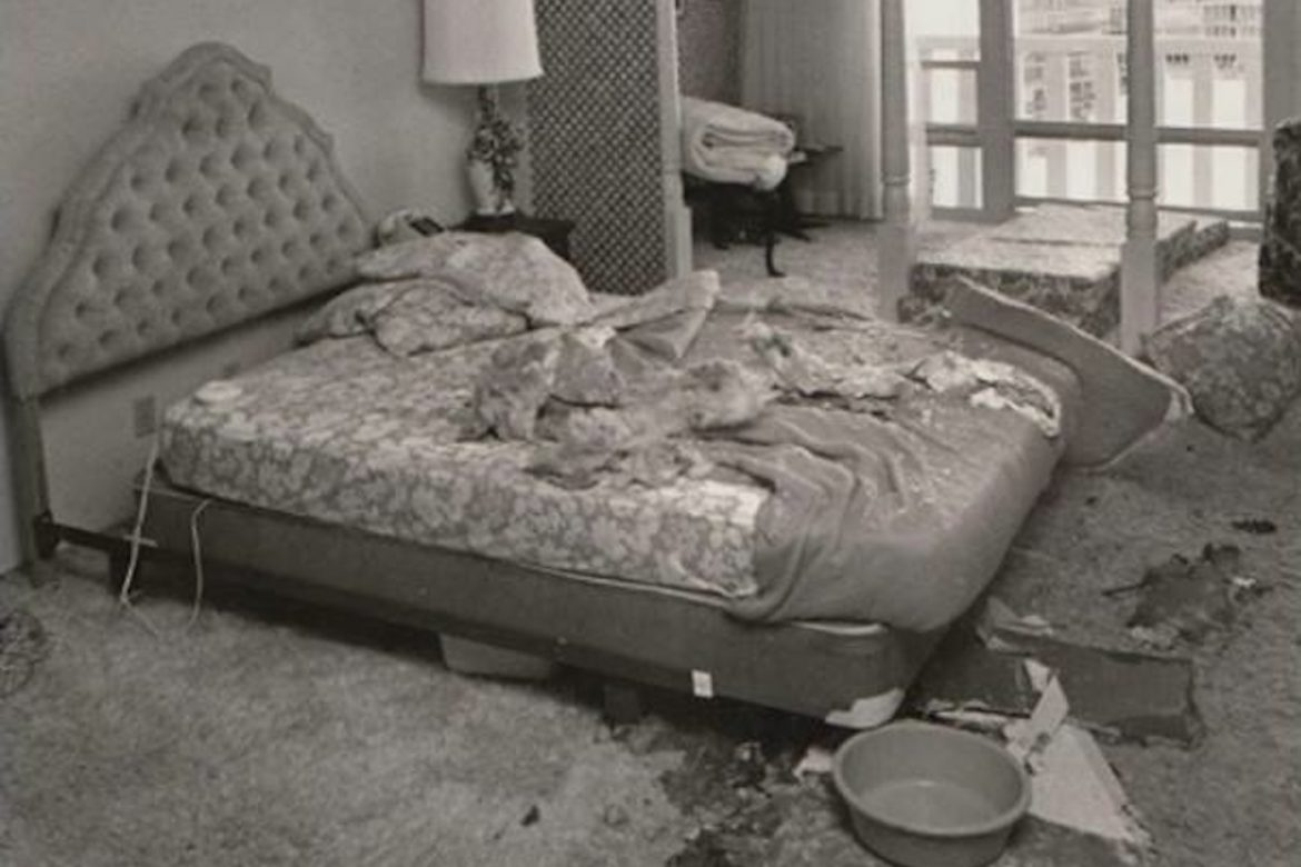 Vanessa Rossetto - Adult Contemporary, bedroom with collapsed ceiling all over the bed and floor
