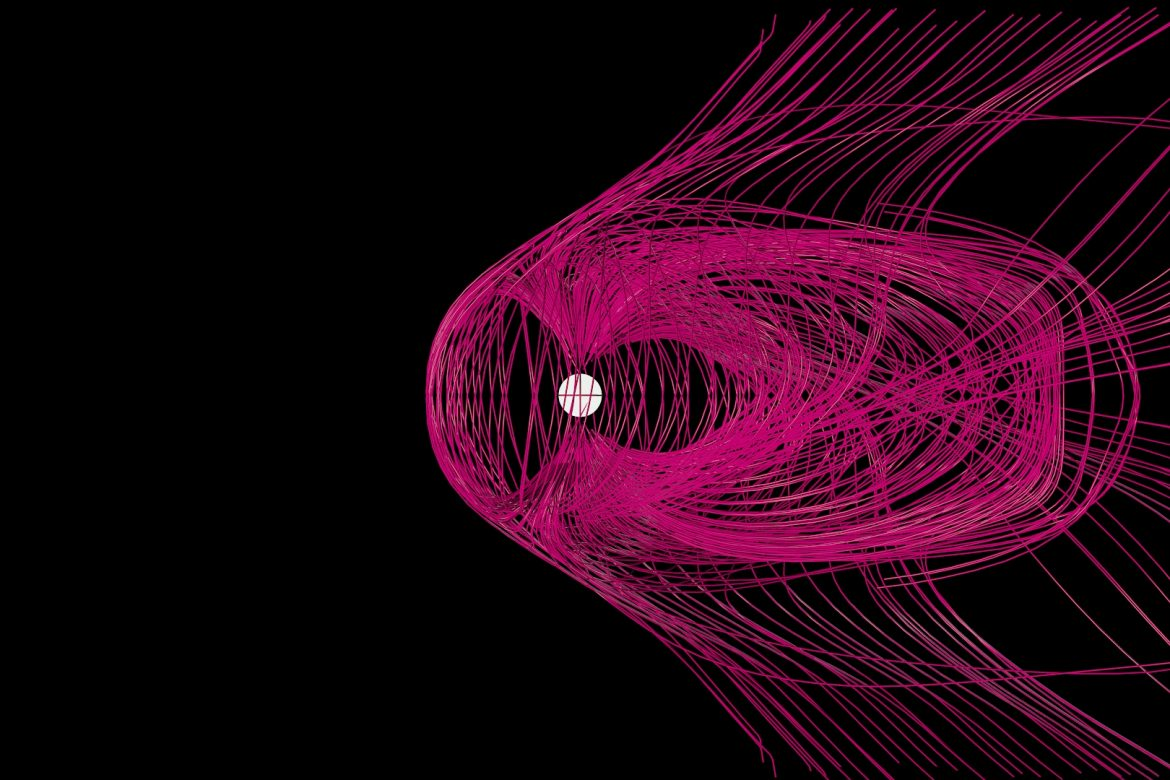 Helen White - Solar Wind Chime, pattern of pink lines representing solar wind