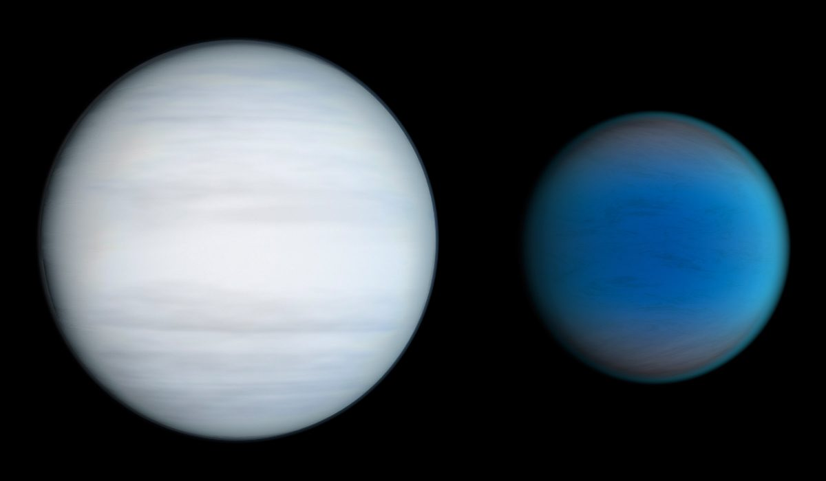 An artist's conception of the two planets orbiting the star Kepler 47