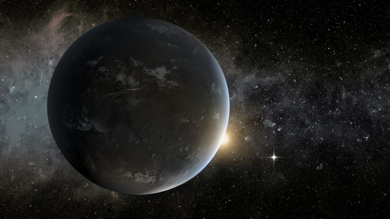 An artist's conception of the planet Kepler 62f, with the star Kepler 62 and the planet Kepler 62e in the background