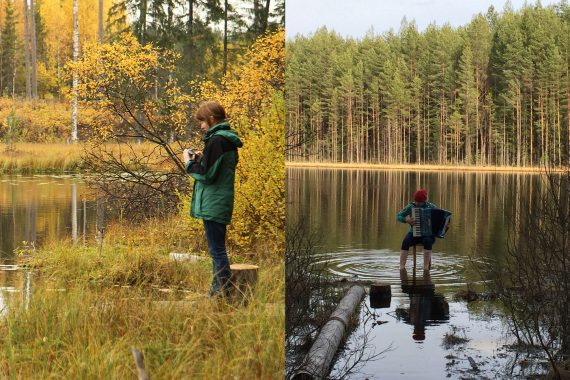 Dawn Scarfe + Tuulikki Bartosik, photo of Scarfe recording by a river next to one of Bartosik playing accordion on the edge of a lake