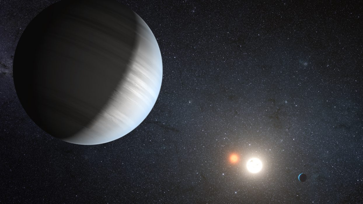 An artist's conception of Kepler 47, a system with a binary star and two planets