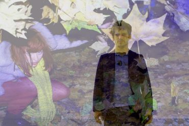 Far Rainbow, photo of Bobby Barry superimposed over one of Emily Mary Barnett, leaves in background