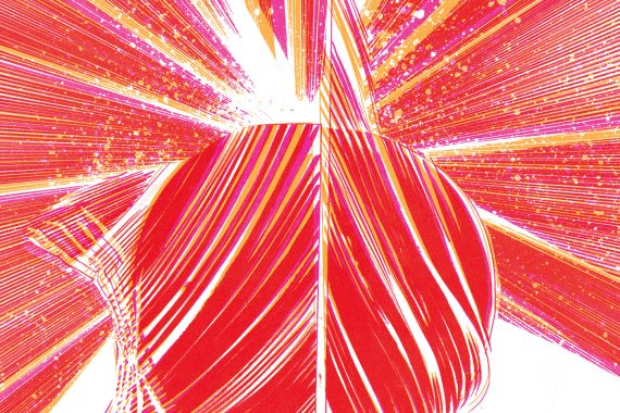 Okkyung Lee and Christian Marclay - Amalgam, bright red shattering design on white background