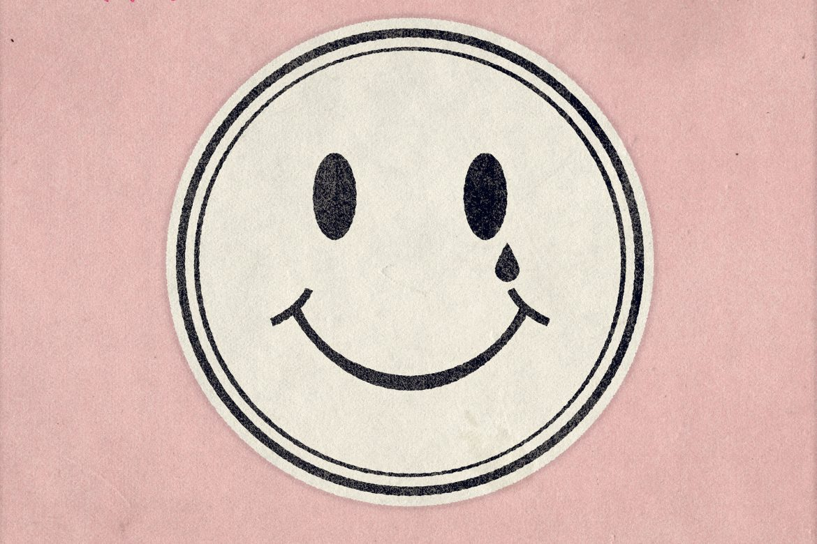 Dag Rosenqvist + Matthew Collings - Hello Darkness, acid smiley face design shedding a tear, on a pink background