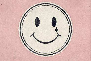 Dag Rosenqvist + Matthew Collings - Hello Darkness, acid smiley face design shedding a tear, on a pink background