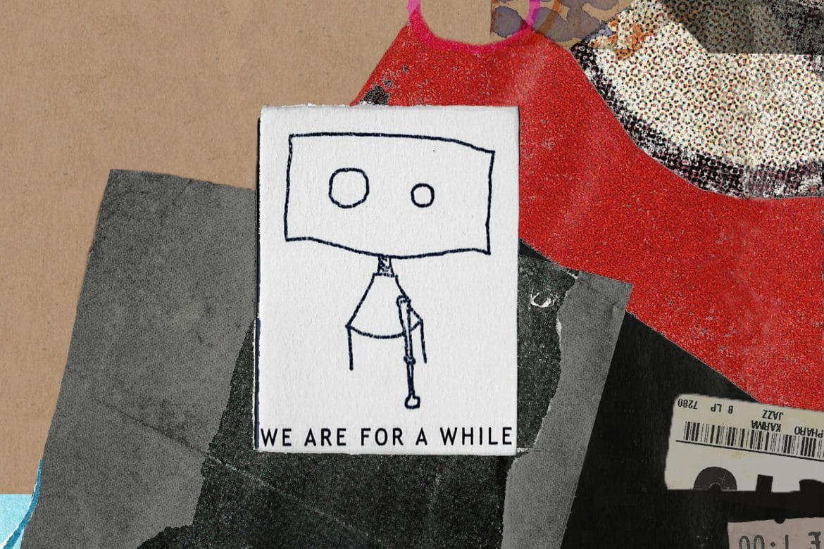 Vitalija Glovackyte - We Are For A While collage album cover design featuring wire robot