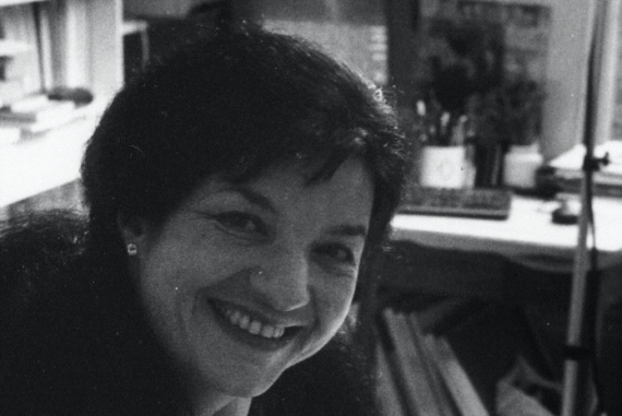 Pascale Criton - Infra, black and white image of the composer smiling in her studio