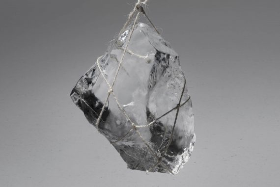 Tomoko Sauvage - Musique Hydromantique, crystal of ice suspended by string.