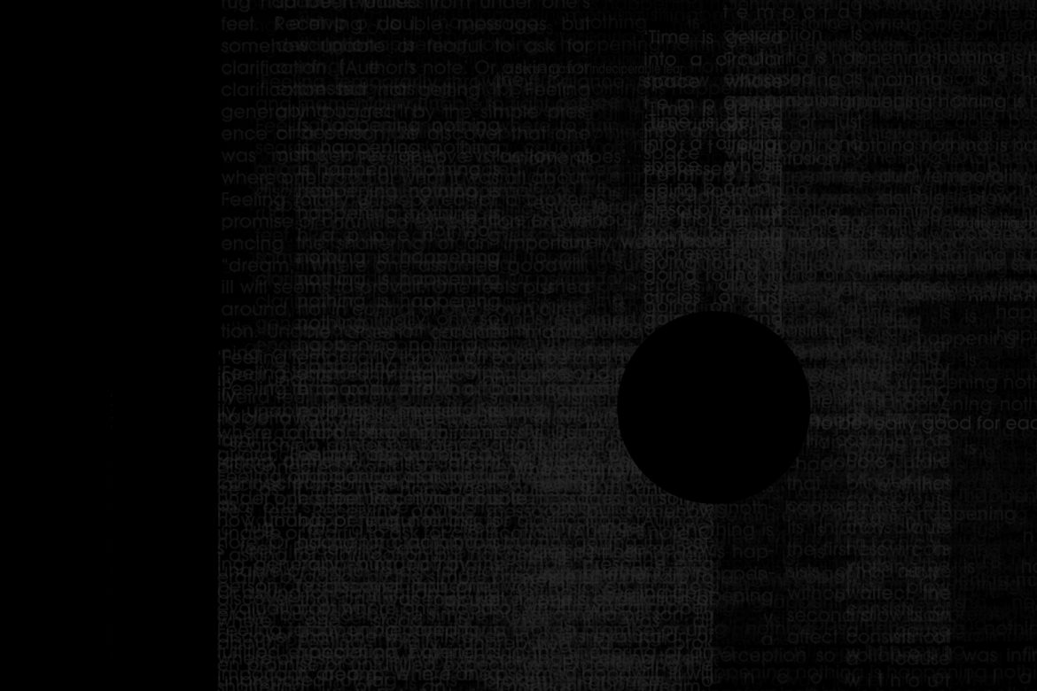 Thembi Soddell - Love Songs, very faint grey text on a black background, circular black hole in the middle.