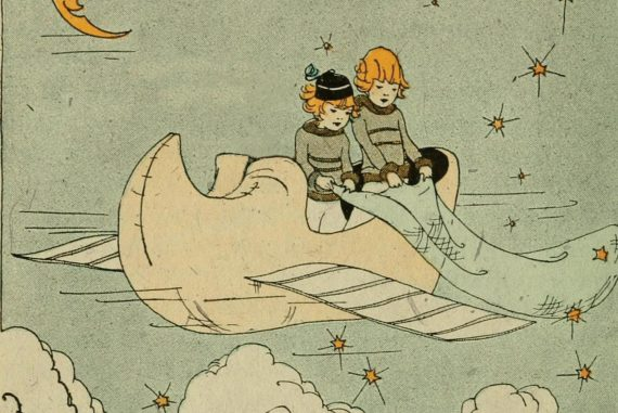 Matthew Revert and Vanessa Rossetto - Everyone Needs A Plan, illustration of a boy and girl holding a trailing cloth out of a flying shoe.