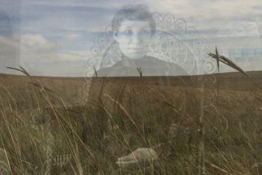 Nat Evans - Flyover Country, ghostly image of 19th-Century lady superimposed over a modern grassland plain.